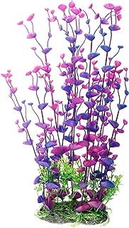 CNZ Aquarium Decor Fish Tank Decoration Ornament Artificial Purple Plastic Plant, 16-inch