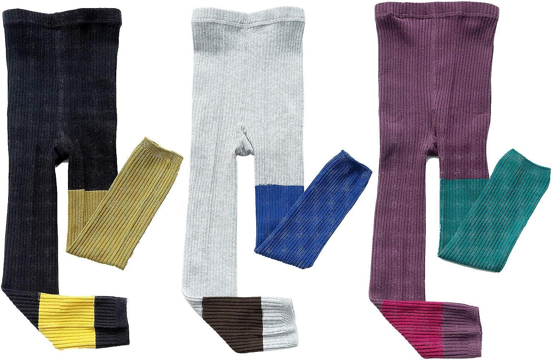 MINI PANDA Baby Girl Leggings Toddler Knit Tights Footless Tights Little Girls Bottom Pants 3-Pack