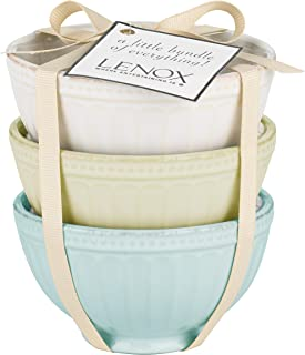Lenox French Perle Groove Bowls (Set of 3), Mini, Multicolor