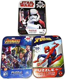 Bundle Set of 3 Mini Jigsaw Puzzles: Marvel Spiderman, Disney Star Wars Stormtrooper, Avengers Infinity War (with Groot) in Collectible Illustrated Travel Tins/Cases