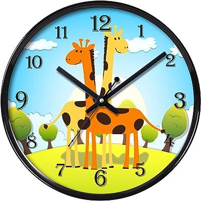 Random Plastic Two Giraffe Round Wall Clock (28 cm X 28 5 cm, Black)