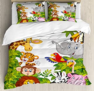 Ambesonne Nursery Duvet Cover Set, Cartoon Style Zoo Animals Safari Jungle Mascots Tropical Forest Wildlife Pattern, Decorative 3 Piece Bedding Set with 2 Pillow Shams, Queen Size, Green White