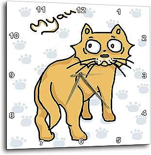 3dRose Warya - Animals. - Ginger Cat Say Meou - 10x10 Wall Clock (DPP_299938_1)