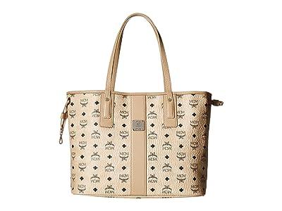 MCM Reversible Liz Medium Shopper in Visetos (Beige) Handbags