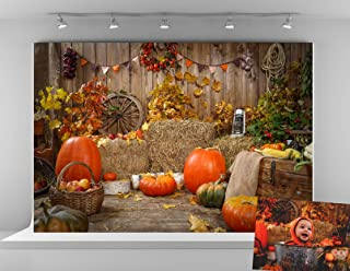 Kate 10x6.5ft Microfiber Halloween Pumpkin Photo Backdrop Thanksgiving Autumn Gifts Backgrounds Haystack Decoration Backdr...