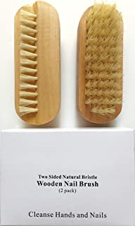 2 pcs/set Two sided Natural Boar Bristle Wooden Manicure Nail Brush (2 pack)