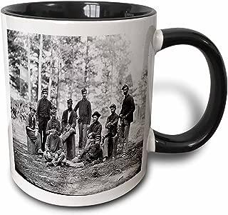 3dRose 204923_4 Print of Civil War Soldiers Picture Ceramic Mug, 11 oz, Black/White