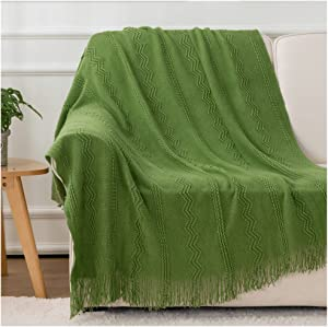 BATTILO HOME Knit Throw Blanket Soft Lightweight Textured Decorative Blanket with Tassel for Bed, Couch (Green, 50