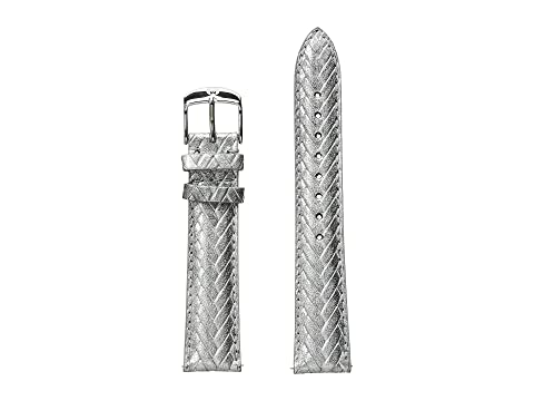 Michele 18mm Metallic Braided Leather Strap Sliver