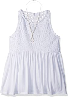 Girls' Big Lace to Solid Racerback Babydoll with Necklace
