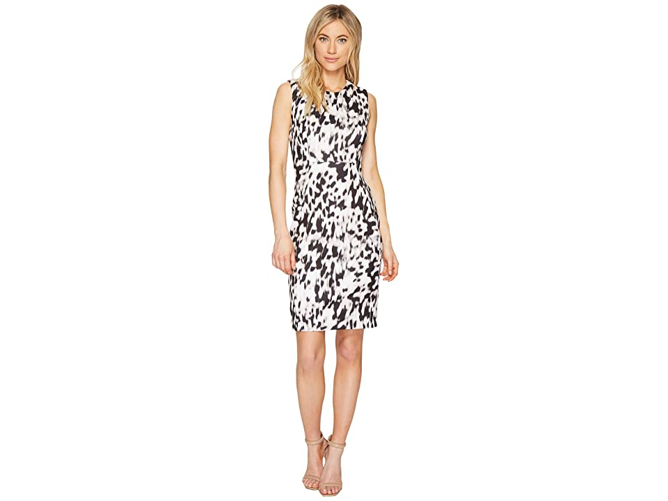 Calvin Klein Printed Sheath Dress (Latte/Soft White Combo) Women