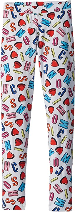 All Over Logo Heart Print Leggings (Big Kids)