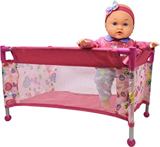Doll Pack N Play, Take Along Crib Toy Accessory for Dolls with Carry Along Bag, Doll Travel Playpen Bed