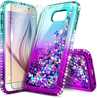Galaxy S6 Case with Tempered Glass Screen Protector, NageBee Glitter Sparkle Bling Liquid Floating Quicksand Waterfall Shockproof Women Kids Girls Cute Durable Case for Samsung Galaxy S6 -Aqua/Purple