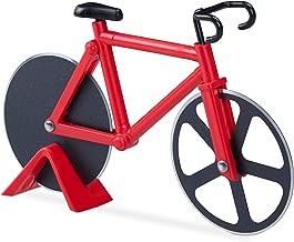 Relaxdays Tagliapizza bicicletta divertente rotella per pizza a forma di bici acciaio inox cutter da cucina tagliapasta rosso