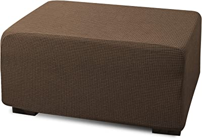 Argstar Jacquard Ottoman Covers Slipcover Rectangle for Living Room, Stretch Slipcover for Ottoman, Elastic Ottoman Slip Cover, Coffee Folding Storage Stool Furniture Protector (Large, Light Brown)