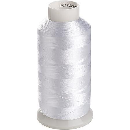 Fodlon Hilo de Coser Bordado Blanco 8000 Yardas Hilos Poli/éster Perfecto para Mano y M/áquina