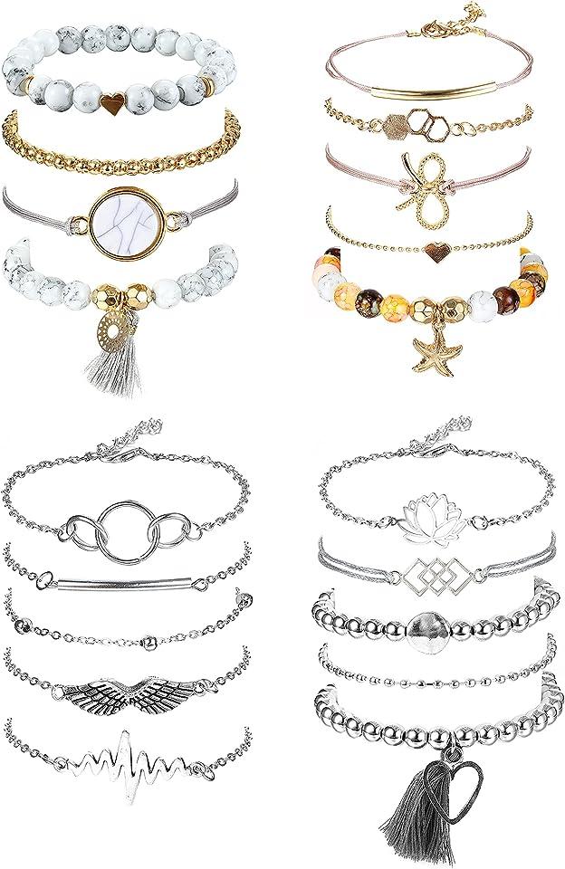 Armbänder Damen Set,19 Stück Böhmisches Mehrschichtiges Armband für Frauen Charm Armbänder Infinity Herz Perlen Wave Beads Armband Einstellbare Böhmen Schmuck