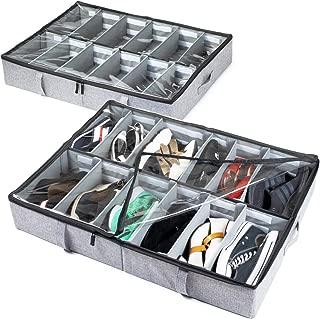 storageLAB Under Bed Shoe Storage Organizer, Adjustable Dividers - Set of 2, Fits 24 Pairs Total - Underbed Storage Solution (Grey)