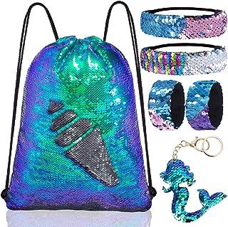 Mermaid Reversible Sequin DIY pattern Drawstring Dance Gym Backpack/Bag for Kids Girls