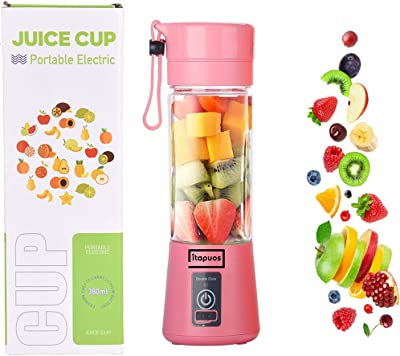 iTAPUOS Portable Blender, Personal Size Blender Shakes and Smoothies Mini Jucier Cup USB, Rechargeable Six Blades Portable Blender, portable blender, smoothie blender, personal blender, blend jet, mini blender, licuadora portatil, portable smoothie blender, travel blender (PINK)