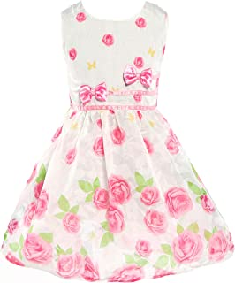 Floral Spring Summer Dress for Girls Sleeveless Kids Bow Tie Party Sundress