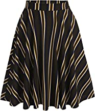 Hotouch Women's Plaid Flared Skirt A-Line High Elastic Tartan Pleated Winter Warm Wool Skirts Short