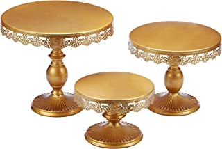 VILAVITA Set of 3 Cake Stands Round Cupcake Stands Metal Dessert Display Cake Stand, Gold