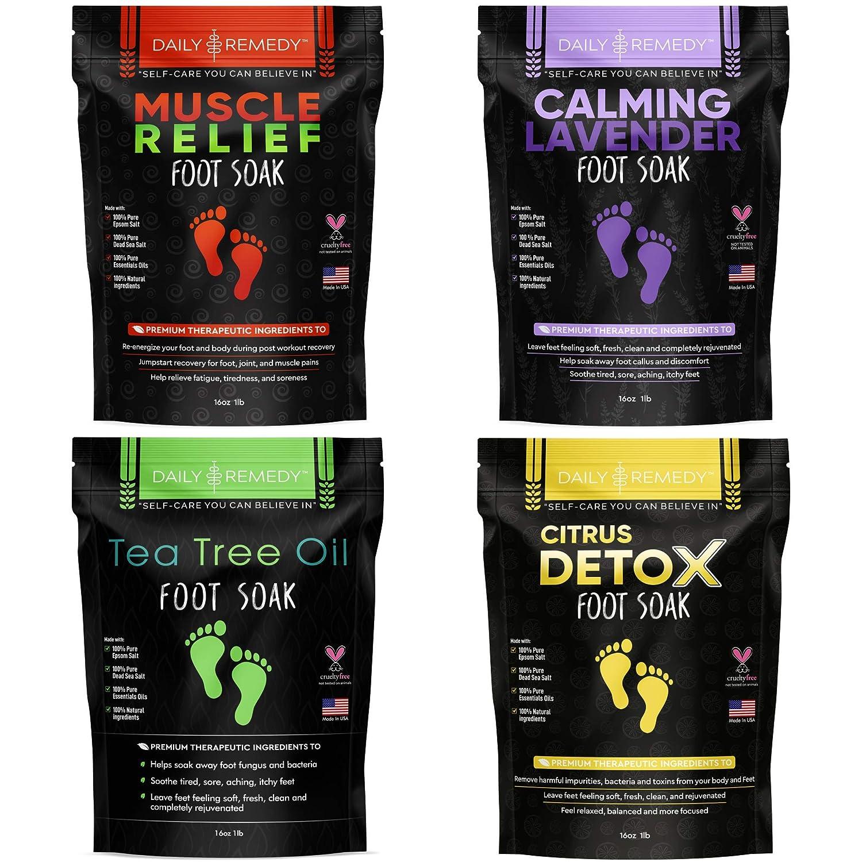 DAILY REMEDY Foot Soak Salts- Variety Pack Tree 4- Weekly update of Tea Oil Rare M