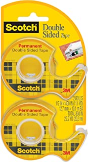 Scotch Double Sided Tape with Dispenser, Narrow Width, Engineered for Office and Home Use, Photo-Safe, 1/2 x 400 Inches, 2 Rolls (137DM-2)