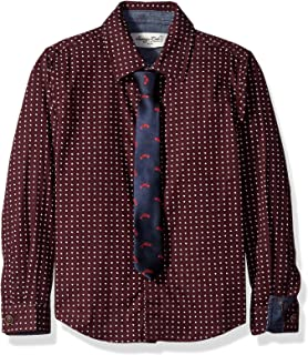 Sovereign Code Boys' Polka Dot Long Sleeve Button Up with Printed Tie Set