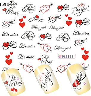Love Letter Valentine Heart Nail Sticker Water Transfer Decals Decoration Self Adhesive