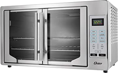 Oster French Convection Countertop and Toaster Oven | Single Door Pull and Digital Controls | Stainless Steel, Extra Large
