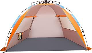 Oileus X-Large 4 Person Beach Tent Sun Shelter - Portable Sun Shade Instant Tent for Beach with Carrying Bag, Stakes, 6 Sand Pockets, Anti UV for Fishing Hiking Camping, Waterproof Windproof, Orange