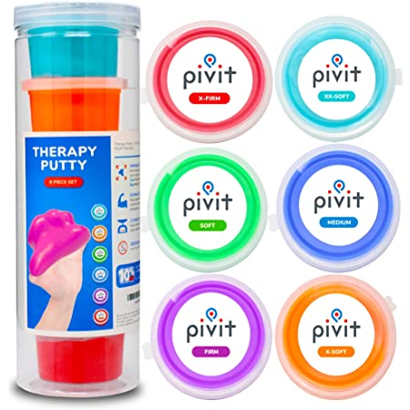 Pivit Exercise Putty (18 oz)   Therapeutic, Occupational and Therapy Tool   Thinking and Stress   Finger, Hand Grip Strength Exercises   Extra Soft, Soft, Medium, Firm (Pack of 6)