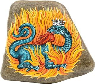Salamandra, Piedra Pintada a Mano, Arte Alquímico