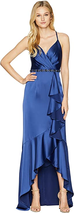 Cascade Ruffle Satin High-Low Slip Gown