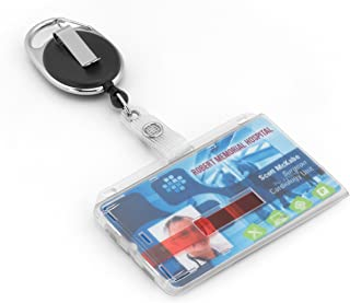 porte-badges avec yoyo et cordon résistant pour jusqu'à 2 cartes en plastique de la marque BE-HOLD protection de vos badges