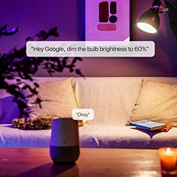 Smart WiFi Light Bulb, LED RGBCW Color Changing, Compatible with Alexa and Google Home Assistant, No Hub Required, A1...