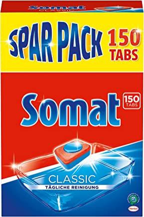 Somat Classic-Sparpack mit hoher Reinigungskraft, kraftvoll gegen Tee- und Kaffeeflecken, mit Schutz vor Glaskorrosion, phosphatfrei, 150 Spülmaschinen-Tabs