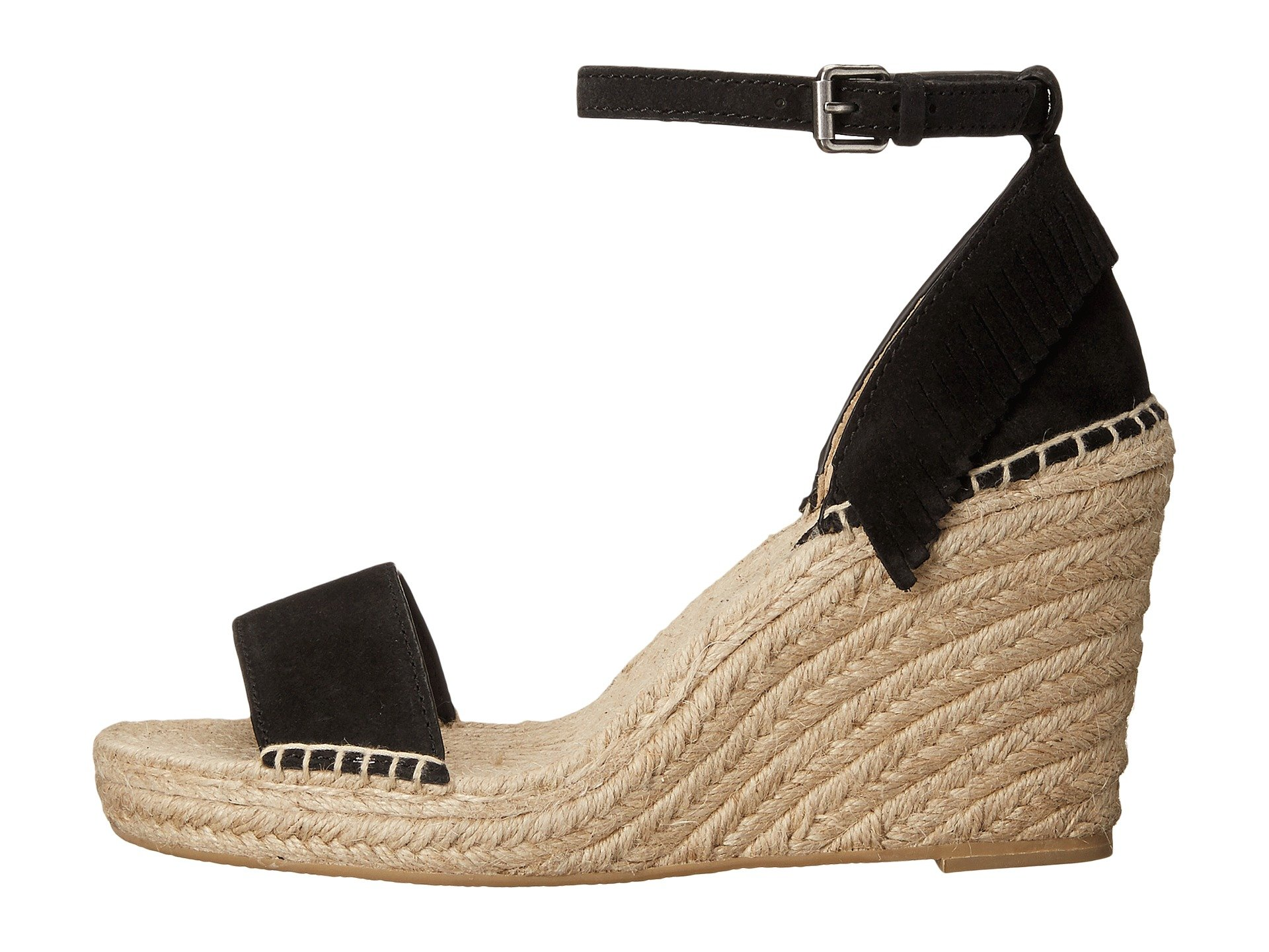 Lila Feather Wedge, Black Oiled Suede