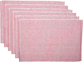 VHC Brands Americana Farmhouse Tabletop & Kitchen - Ashton Ribbed Placemat Set of 6, Red