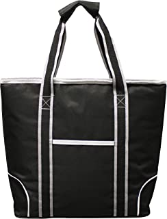 Earthwise Insulated Grocery Bag Shopping Cooler Tote Black with Silver & White Trim Large Capacity w/Zipper Closure and Front Pocket Thermal Cooler for Hot or Cold Food 18.5 W x 13.5 H x 5.5 D