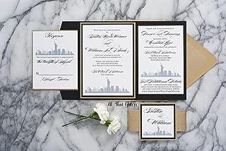 Custom New York City Themed Wedding Invitation, NYC Wedding Cards, Skyline, Tristin Sample