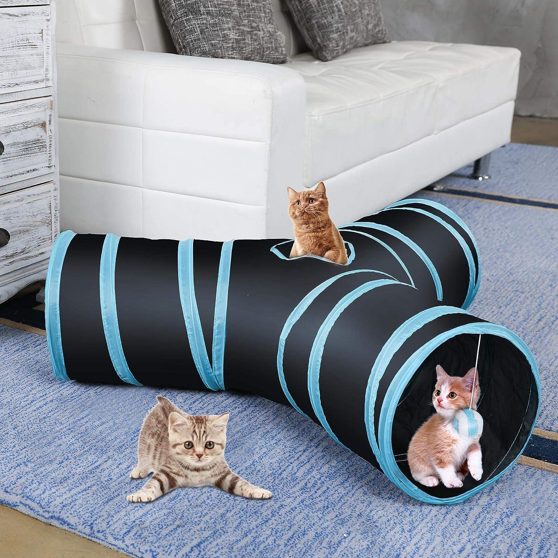 CO-Z Collapsible Cat Tunnel Tube Kitty Tunnel Bored Cat Pet Toys Peek Hole Toy Ball Cat, Puppy, Kitty, Kitten, Rabbit 3-Way Black