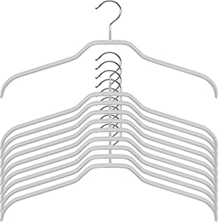 Mawa Extra Wide Clothes Hanger Reston Lloyd Silhouette Light Thin Non-Slip Space Saving, Set of 10, Silver, 10 Count