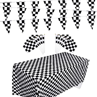 Racing Flag Set, Include 10 Packs Checkered Flags, 32 Ft Checkered Race Flag Banner, 2 Packs Table Covers for Checkered Racing Flag Party, Birthdays Party