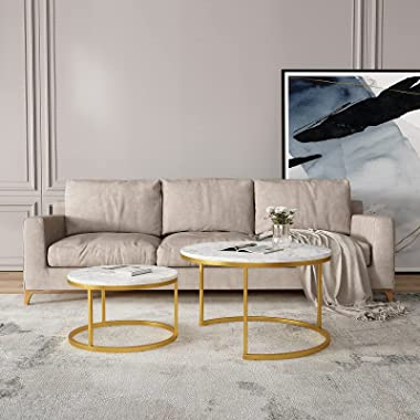 Lecut Modern Nesting Coffee Table Round Coffee Table Set of 2 End Table with Marble Wood Top for Living Room Office Balcony a