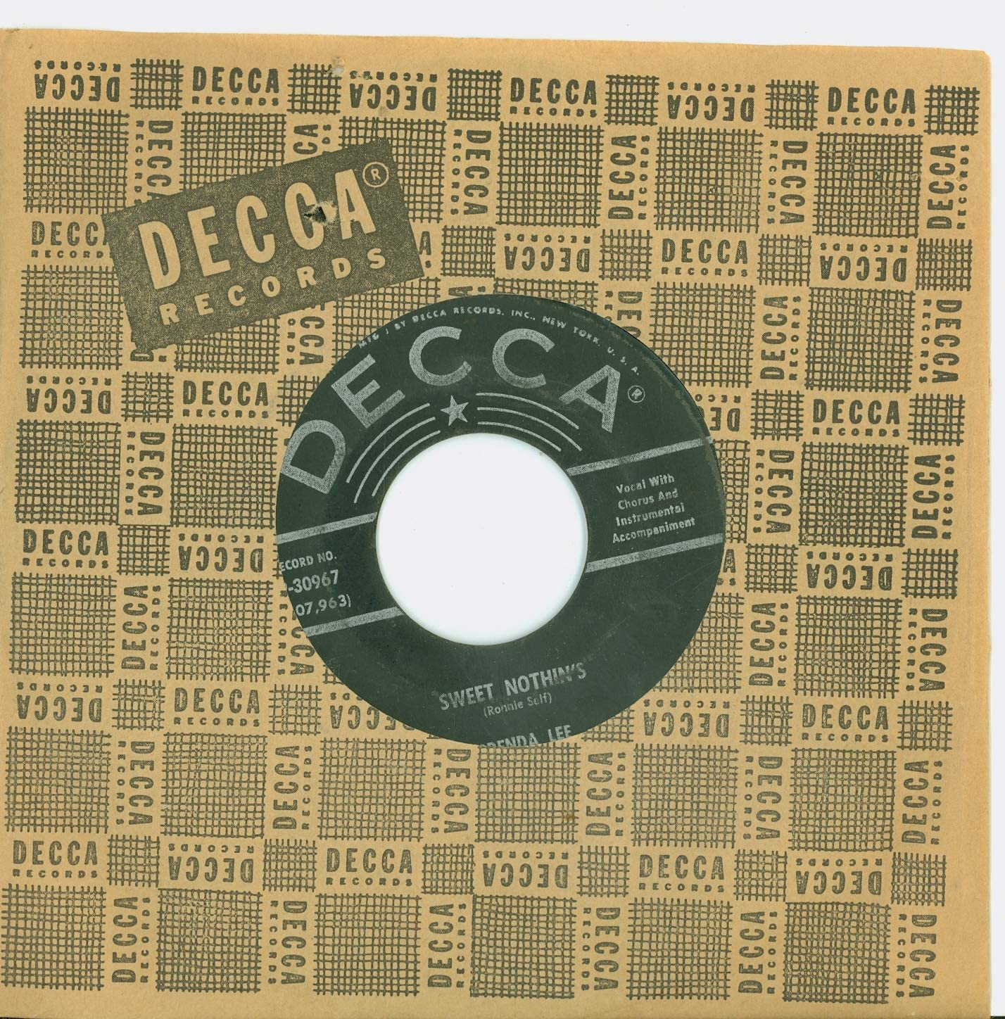 Sweet Nothin's Weep No More My Brenda Record High quality Genuine new Baby Decca - Lee