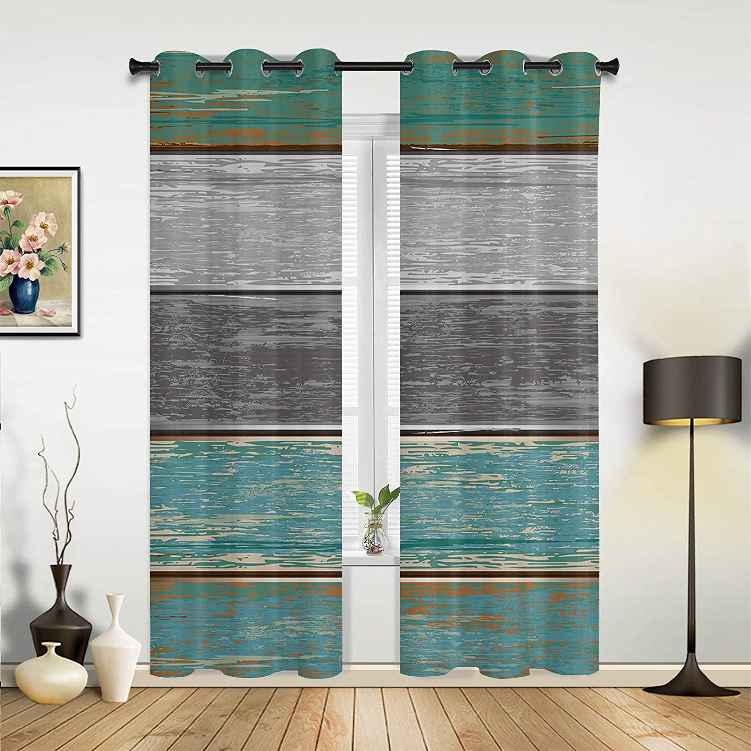 Window Sheer Curtains for 2021new shipping free shipping Bedroom Living Farm Room G Under blast sales Retro Green